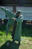 Военный лагерь Образование солдат в защитных костюмах конец стоковая фотография
