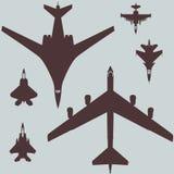 военный набор авиации картины векторных график истребительных авиаций и бомбардировщиков воздушных судн иллюстрация вектора