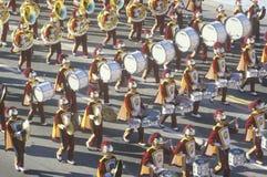 Военный оркестр в параде Rose Bowl, Пасадина USC, Калифорния Стоковое Изображение