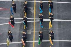 Военный парад празднуя национальный праздник Румынии стоковые фотографии rf