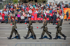 Военный парад во время торжества дня победы Стоковое Фото