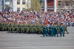 Военный парад во время торжества дня победы Стоковые Фотографии RF