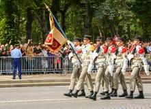 Военный парад (дефиле) во время церемонии французского национального праздника, бульвара Elysee чемпионов Стоковое Фото