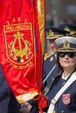 Военный парад с флагом блока Стоковые Фото
