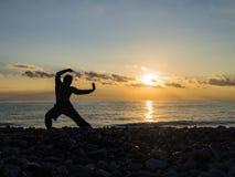 Военный художник с оранжевым заходом солнца Силуэт whushu практики человека Здоровый уклад жизни стоковые изображения rf