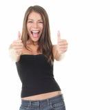 Возбужденная женщина успеха стоковые изображения rf