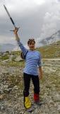 возбужденный альпинист Стоковое Фото