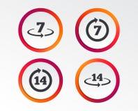 Возвращение товаров не позднее 7 или 14 дней бесплатная иллюстрация