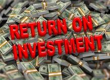 возвращение invstment 3d на предпосылку пакетов доллара Стоковое Изображение RF