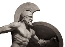 Возглавьте в скульптуре шлема греческой старой ратника белизна изолированная предпосылкой Стоковые Фотографии RF