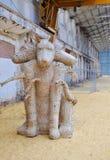 3 возглавили скульптуру собаки: Железнодорожный музей, Bassendean, западная Австралия Стоковая Фотография