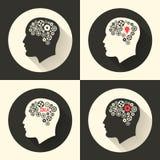 Возглавьте с мозгом и pictograph шарика лампы идеи Мужской человек думает символы также вектор иллюстрации притяжки corel Стоковая Фотография RF