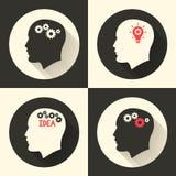 Возглавьте с мозгом и pictograph шарика лампы идеи Мужской человек думает символы также вектор иллюстрации притяжки corel Стоковое Фото