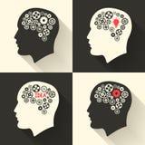 Возглавьте с мозгом и pictograph шарика лампы идеи Мужской человек думает символы также вектор иллюстрации притяжки corel Стоковое Изображение RF