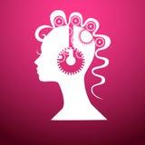 Возглавьте с шестернями, иллюстрацией на розовой предпосылке Стоковые Изображения