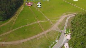 Воздушная большая группа в составе красивые мальчики и девушки детей бежать с детьми в парке Лето деятельности при змея беспечаль Стоковые Фотографии RF