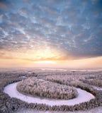 воздушная зима взгляда вечера Стоковая Фотография RF