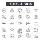 Воздушная линия обслуживаний значки Editable знаки хода Значки концепции: транспорт, промышленное trandport, аэропорт, несущая бесплатная иллюстрация