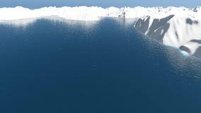 Воздушная муха над айсбергом и морем акции видеоматериалы