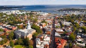 Воздушная столица дома государства Аннаполиса Мэриленда панорамного вида стоковая фотография rf