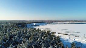 Воздушная съемка замороженного озера видеоматериал