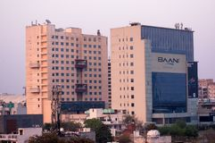 Воздушная съемка офисов домов небоскребов в gurgaon Дели noida стоковое изображение rf