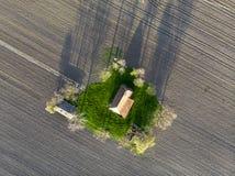 Воздушная съемка старого покинутого ранчо стоковое изображение rf