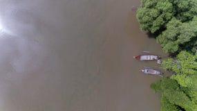 Воздушная шлюпка длинного хвоста с лесом мангровы на юге Таиланда стоковое изображение rf
