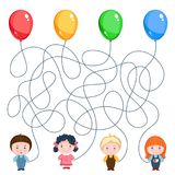 4 воздушного шара владением детей Стоковые Изображения