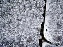 Воздушное взгляд сверху дороги в лесе зимы Стоковые Изображения RF