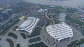 Воздушное видео тумана спортивного центра 4K Шанхая восточного, сумрак акции видеоматериалы