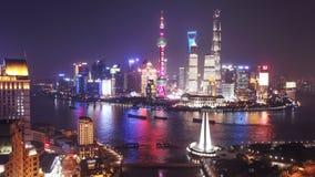 Воздушное видео hyperlapse Шанхая на ноче видеоматериал