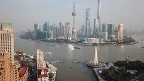 воздушное видео hyperlapse 4k Шанхая в дневном времени сток-видео