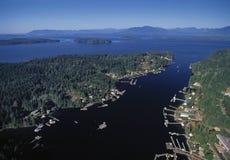 Воздушное изображение Bamfield, ДО РОЖДЕСТВА ХРИСТОВА, Канада стоковые фотографии rf