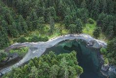 Воздушное изображение Ninstints, Haida Gwaii, ДО РОЖДЕСТВА ХРИСТОВА, Канада стоковая фотография rf