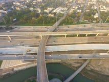 Воздушное межгосударственное I-10, северный взаимообмен стога скоростного шоссе I-45 ни Стоковое Фото