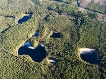 Воздушное фотографирование озера в предыдущей весне Стоковое Фото