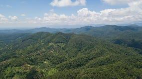 Воздушное фото взгляд сверху от трутня летания буддийского виска и полей в сельской местности Стоковые Изображения RF