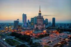 Воздушное фото дворца культуры и науки в Варшаве p Стоковые Изображения RF