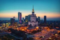 Воздушное фото дворца культуры и науки в Варшаве p Стоковые Фотографии RF
