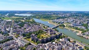 Воздушное фото замка города Angers Стоковое Изображение RF