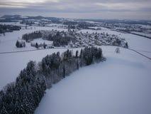 Воздушное фото ландшафта зимы Стоковые Изображения