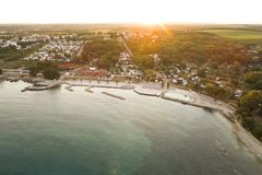 Воздушное фото располагаться лагерем около novigrad, istria Стоковое фото RF