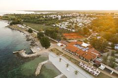 Воздушное фото располагаться лагерем около novigrad, istria Стоковое Фото