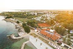 Воздушное фото располагаться лагерем около novigrad, istria Стоковое Изображение