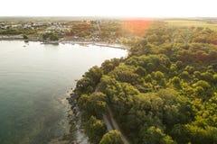 Воздушное фото располагаться лагерем около novigrad, istria Стоковые Изображения RF