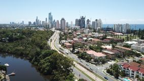 Воздушное фото Broadbeach, Квинсленд, Австралия Стоковая Фотография