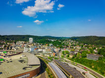 Воздушное фото Gummersbach Стоковое Изображение RF