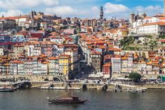 Воздушное iew v исторического города Порту Стоковое Изображение