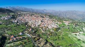 Воздушное Pano Lefkara, Ларнака, Кипр Стоковая Фотография